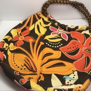 Colorful Floral Purse With Wood Bead Handles
